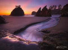 Ocean Cascade Sunset (Chip Phillips) Tags: ocean sunset sea usa beach oregon river coast pacific northwest stack cascade