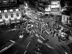 Motorbike Madness, Old Quarter - Hanoi (adde adesokan) Tags: street longexposure travel people white black cars pen photography lights asia vespa crossing streetphotography documentary olympus vietnam motorbike westlake vehicle hanoi moped baloons ep3 streetphotographer m43 mft mirrorless microfourthirds theblackstar mirrorlesscamera streettogs addeadesokan