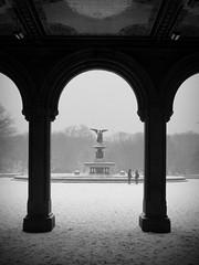 Bethesda Fountain (Nellies78) Tags: nyc newyorkcity winter blackandwhite snow ny newyork centralpark bethesdafountain