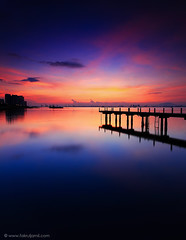 Morning Glory (Explored) (Fakrul J) Tags: longexposure reflection sunrise canon buildings photography dawn pier ship malaysia slowshutter penang efs 1022mm 76 uwa wetreflection explored canoneos500d hoyahdcpl fakruljamil wwwfakruljamilcom
