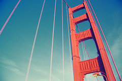 Golden Gate Bridge (Leighton Wallis) Tags: sanfrancisco california birthday ca usa tower suspension unitedstatesofamerica goldengatebridge cables internationalorange 75thanniversary ggnpc11