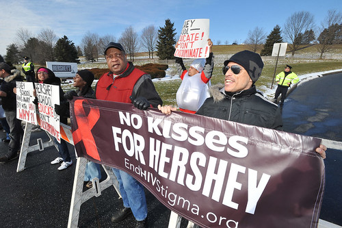 AIDS Healthcare Foundation Protests Outside Hershey Company Corporate Office