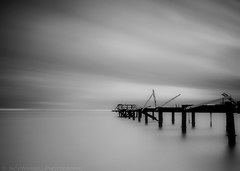 Withered (Jack Wassell) Tags: ocean old longexposure sea sky blackandwhite broken clouds pier withered decrepit longislandsound sigma1020mm seasidepark hitech09softgrad hitech30prostop