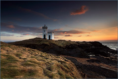 Elie Lighthouse (angus clyne) Tags: ocean camera uk travel light sunset sea cloud lighthouse house seascape storm art beach water rock photoshop canon river dark print landscape drive coast scotland boat europe ship tour shine wind time harbour fife angus dusk south tide dune no