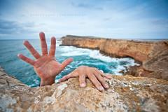 Sheringa, South Australia, Hanging on for dear life!!!! (Explored) (Robert Lang Photography) Tags: for hands australia hanging dear southaustralia lang hangingon eyrepeninsula sheringa lifehelphelpslippinggrabbingfingersclutchinghopingcoastcoastlinecliffcliffsclifftopinspiringaweawesomespectaculartraveldestinationdangerexcitementshearrockswateroceancolourcolorone personlimestonestoneseacrazyverticalrobert