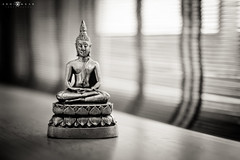 Peacefulness! (abhiomkar) Tags: light window statue table god budha peacefulness