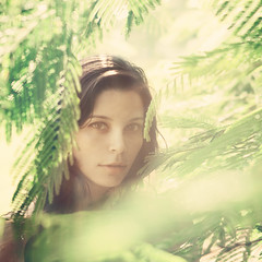 Faun (AnnuskA  - AnnA Theodora) Tags: park light portrait woman selfportrait green nature colors beautiful leaves lady eyes woods bokeh details lips looks greenery stares lookinglikeawildanimal andabitlikeconspiracykeanup