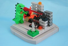 Godzilla! (Monkeyboy~) Tags: city monster statue japan buildings fire town tank le