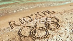 062708315-rio-2016-inscription-sand-beac (daria.boteva) Tags: world brazil game beach water beauty lines childhood silhouette sport rio horizontal riodejaneiro composition writing handwriting outdoors design team sand message symbol drawing background text year wave competition nobody nopeople newyear ring clean number international brazilian olympics script drawn athlete simple handwritten advertizing olympicgames competitions 2016 olympicrings summergames rio2016