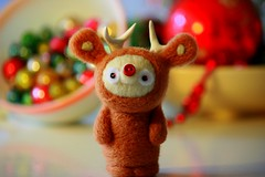 Little Deer amidst Christmas (The Dolly Mama) Tags: animal felted reindeer handmade deer whimsical kitlane greathornedursabob