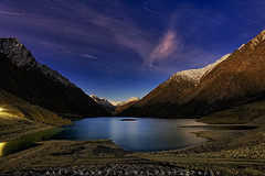 Satpara Dam.. (M Atif Saeed) Tags: blue pakistan light mountain mountains nature colors night clouds stars landscape dam northern northernareas startrail skardu satpara mygearandme atifsaeed
