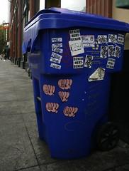 Slapped (3vidence) Tags: trash portland graffiti sticker can denim bonus cv slaps oregan ftg spoil vts dobsr bayk freehert