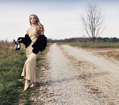 diiferent paths (serhenity) Tags: autumn tree girl field grass path tennessee heels dirtroad dayton gravel golddress blackcoat differentpaths serhenity