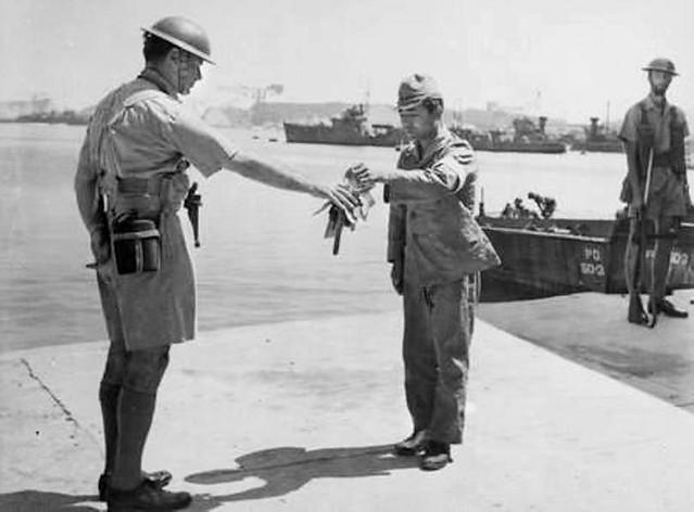August 30, 1945: Capt. Herbert Buchanan, RAN,  receives the keys to the Yokosuka naval base - AWM.