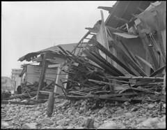 Storm destroys cottages at Roughan's Point, Beachmont, Revere (Boston Public Library) Tags: weather storms floods lesliejones