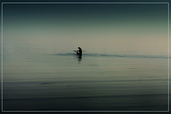 Deep sea Fisherman (adrians_art) Tags: mist fog reflections dawn coast kent fishing fisherman ripples stillness whitstable wading seawater