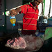 Young Man Cooking Red Meat Outdoors Boorama Somaliland