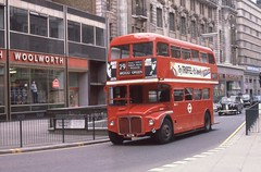 London Transport . RM91 VLT91 . Victoria , London . 19th-March-1982 . (AndrewHA's) Tags: bus victoria woolworth routemaster parkroyal londonbus londontransport fww woodgreen aec route29 rm91 vlt91