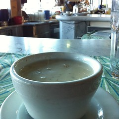 Stopping for a cup of clam chowder #foodspotting