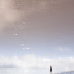 walking into the sky (sue.h) Tags: pink blue sea sky beach water clouds reflections sand afternoon upsidedown pastel australia queensland lowtide marcoola artlibre