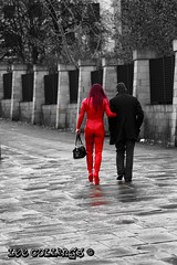 Everyday Clothing??? (Yorkshire Pics) Tags: red people leather leeds streetphotography unusual leatherclothing selectivecolour redleather selectivecolouring hintofcolour redpvc leatherclad pvcclothing