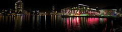 Grand Canal Dock Night Skyline (claudiopro) Tags: road street bridge ireland panorama dublin water skyline architecture night reflections noche canal dock theatre nacht charlotte daniel grand double quay doubletake wharf take libeskind hanover nuit notte pearse macmahon ringsend