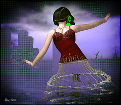 Facing a (Very) Meshy Future (Alles Klaar) Tags: trees woman green birdcage water beauty birds skyline clouds buildings reflections necklace dress mesh framed helmet posed secondlife vignetting windlight filterforge
