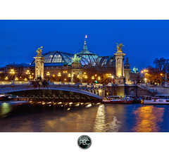 Grand Palais and Pont Alexandre III - Paris (_PEC_) Tags: bridge 3 paris france trois seine night photoshop canon river photo triangle flag iii tripod grand invalides pont palais l 5d 24 28 usm dor 75 alexandre 70 et nuit hdr parisian francais manfrotto drapeau fleuve photographe mark2 pec 75008 2011 oloneo triepied