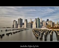 Manhattan Skyline (pDOTeter) Tags: nyc ny newyork skyline brooklyn skyscraper nikon skyscrapers manhattan hdr sincity brooklynbridgepark photomatix d300s oloneo