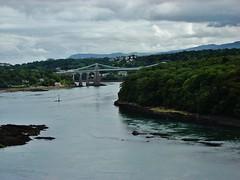 c 1507 Wales - Isle of Anglesey - Menai Bridge - Menai Suspension Bridge built in 1826 by Thomas Telford - Menai Strait - Taken from Britannia Bridge (eewolff) Tags: wales thomastelford globus menaistrait isleofanglesey menaibridge britanniabridge menaisuspensionbridge august92011