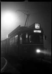 The Haunted Tram (BG Sixtyniner) Tags: white black cold film fog analog tank tram super linhof sheet 100 asa process rodinal iv gsp envoy schneider kreuznach xenar efke 105mm technika 65x9cm