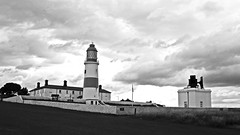 Souter Lighthouse Mono. (Beachcomber ( By The Bay )) Tags: sea blackandwhite cliff lighthouse beach nature monochrome weather canon mono bay coast seaside interesting marine rocks surf sandy coastal coastline exploration northeast seashore southshields saltwater fascinating underwatercamera lizardpoint northeastcoast bythesea souterpoint newbigginphotographygroup beachcomberbythebay