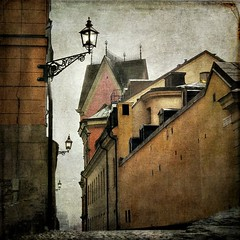 The Alley of Schering Rosenhane (Milla's Place) Tags: texture buildings landscape alley cityscape sweden stockholm streetlights textured riddarholmen idream distressedjewell skeletalmess magicunicornverybest magicunicornmasterpiece kerstinfrankart scheringrosenhanesgränd