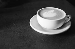 The Perfect Latte (Travis Lawton) Tags: blackandwhite bw film coffee canon ae1 latte kodakbw400cn macrinabakery coffeephotography onerollfifty2