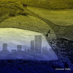 """Sky & Earth"" - ""Ciel & Terre"" (Corinne DEFER - DoubleCo) Tags: travel blackandwhite black france blancoynegro nature montagne landscapes darkness noiretblanc altitude horizon nuages paysage paesaggi paysages cadre contrejour paisagens obscurit landschaften paysbasque randonne larhune surimpression blackwhiteaward corinnedefer updatecollection randonnelarhune"