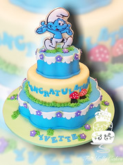 Smurfs Baby Shower (FaithfullyCakes) Tags: flowers blue baby cakes cake cutout handy mushrooms shower three pittsburgh smurf smurfs tier faithfully 3tier threetier