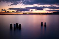 Pillars (Thomas Leth-Olsen) Tags: longexposure sunset seascape nature calm pillars juanlespins milkywater