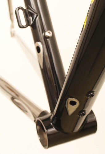 <p>33-Series with DI2 shift routing, internal brake cable routing and stainless steel stays in Iowa Hawkeye styling - 60755</p>