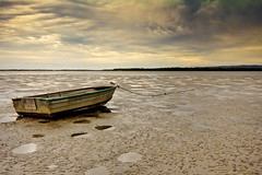 Beached (Matthew Post) Tags: sky storm boat sand australia queensland lowtide tender dinghy tinny tincanbay crabcreek