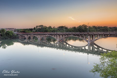 Lamar Bridge Sunset (Ellen Yeates) Tags: bridge sunset sky orange lake reflection bird water car lady canon austin river ellen texas first lamar trial hdr yeates