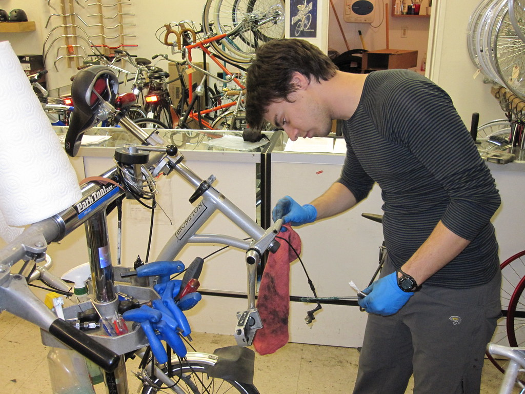 How do you find a local bicycle repair shop?