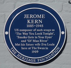 Photo of Jerome Kern and Eva Leale blue plaque