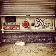 Think Good Thoughts on Chambers Street (astrodub) Tags: newyork alarm square message urbandecay stretart squareformat positive lowermanhattan backfat paperbag earlybird thinkgoodthoughts iphoneography instagramapp uploaded:by=instagram foursquare:venue=4b313629f964a520bf0225e3