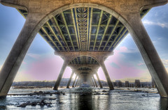 Under the Bridge (Andrew Rolfe) Tags: bridge sunset sky river island richmond browns hdr blinkagain