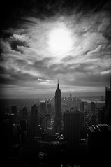 NYD058 - Klein's Sky (Ian_Boys) Tags: new york nyc sky bw usa sun ny clouds fuji manhattan center empirestatebuilding rockefeller topoftherock x100 williamklein artlegacy