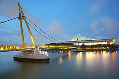 Singapore Indoor Stadium (Marvin) Tags: longexposure seascape night river nikon cityscape stadium tokina bluehour kallang 2035mm d700