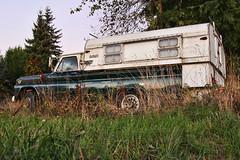Sunset Camping (Fairlane221) Tags: sunset abandoned grass truck washington pickup wa parked canopy renton camper gmc