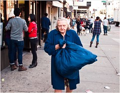 Things get real (TheeErin) Tags: street city nyc blue people woman streets bag walking hands village dress boots hard pickup legendary east camel elderly local core sopwith 2012 windbreaker solemn resident investiture dignified housedress syncretic ambulate laundfy retcon