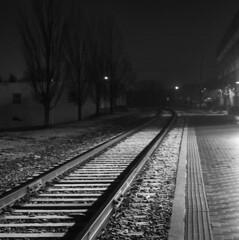 Snow Ties (fauxto_digit) Tags: light blackandwhite bw night traintracks rails