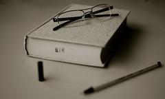 DSC08039 Taking a break (pelinser at.) Tags: pen 35mm glasses book blackwhite bokeh library sony books literature study novel pleasure stabilo bokehlicious sal35f18 slta37